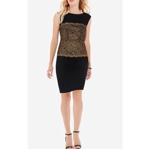 The Limited Black Gold Scallop Lace Sheath Dress 4